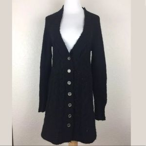 FREE PEOPLE LONG BLACK KNIT CARDIGAN